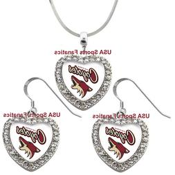 arizona coyotes 925 necklace earrings or set