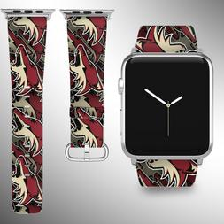 Arizona Coyotes Apple Watch Band 38 40 42 44 mm Fabric Leath