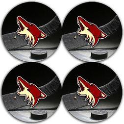 Arizona Coyotes Hockey Rubber Round Coaster set  / RNDRBRCST