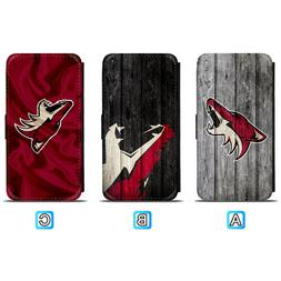 Arizona Coyotes Leather Flip Case For iPhone X Xs Max Xr 7 8