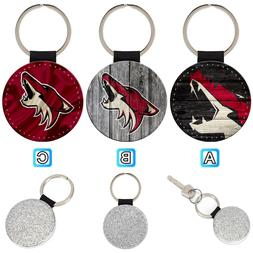 arizona coyotes leather glitter key chain ring