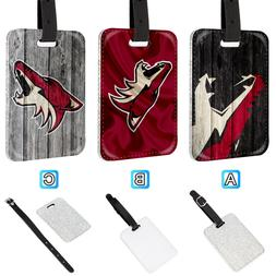 Arizona Coyotes Leather Glitter Luggage Tag Travel Bag Silve