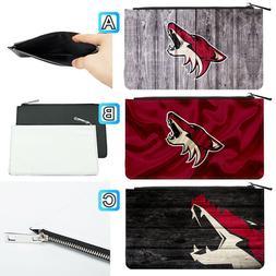 Arizona Coyotes Leather Pen Pencil Case Makeup Bag Pouch Sta
