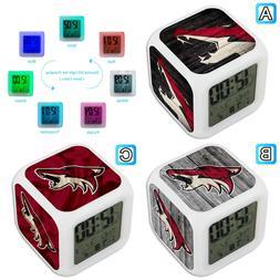 Arizona Coyotes Sport Alarm Digital Clock LED Light Night Gl
