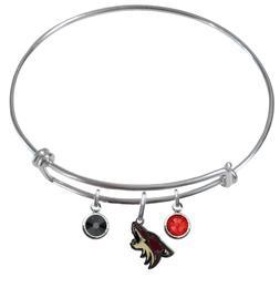 Arizona Coyotes Wire Bangle Charm Bracelet Crystal Gems PICK