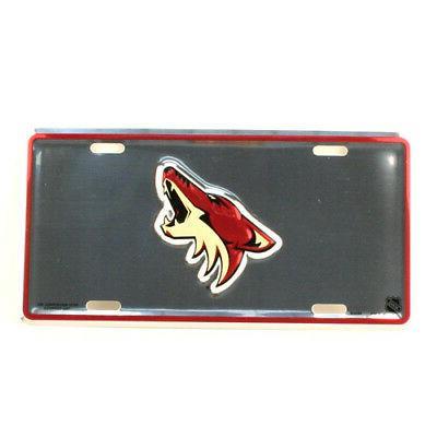 arizona coyotes car truck tag chrome license