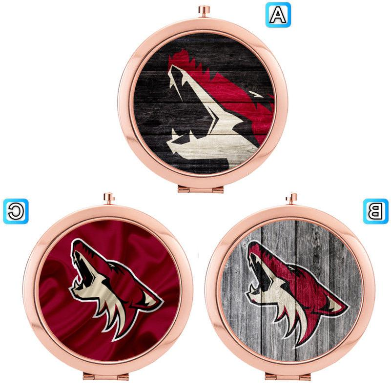 arizona coyotes folding compact makeup mirror cosmetic