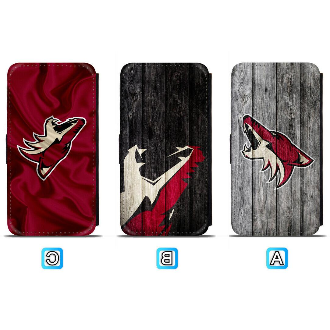 arizona coyotes leather flip case for iphone