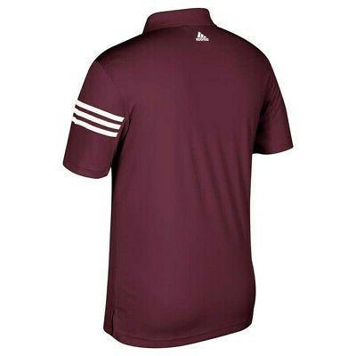 Men's Maroon 3-Stripe Golf Shirt