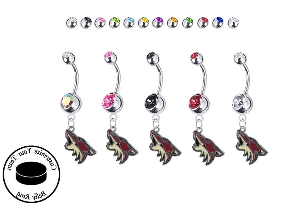 arizona coyotes silver belly button navel ring