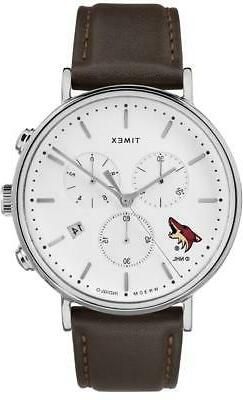 Mens Arizona Coyotes Watch Chronograph Leather Band Watch