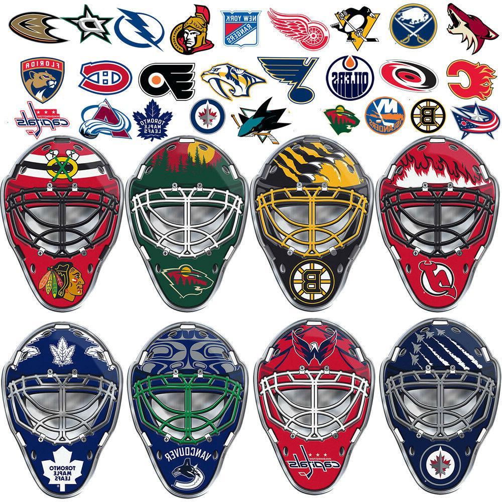 nhl teams goalie mask premium aluminum emblem