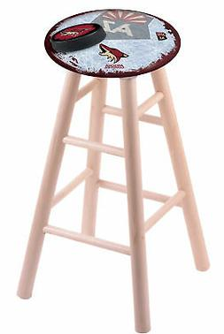 Maple Vanity Stool in Natural Finish with Arizona Coyotes Se