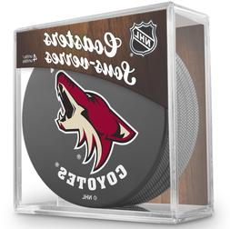 NEW ARIZONA COYOTES ACTUAL HOCKEY PUCK COASTERS SET IN CASE