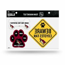NEW! ARIZONA COYOTES PET DOG MAGNET SHEET SET BEWARE FAN LIC