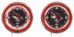 NHL - Arizona Coyotes Double Neon Ring, Logo Clock Hockey Te