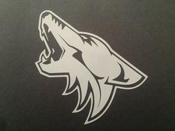 NHL ARIZONA COYOTES WHITE VINYL STICKER / DECAL