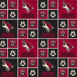 NHL Hockey Arizona Coyotes Logo Squares Red and Black Cotton